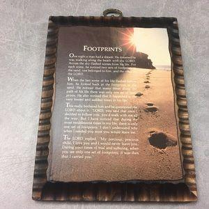 "Vintage Rustic Wooden Plaque w/ ""Footprints"" Story"